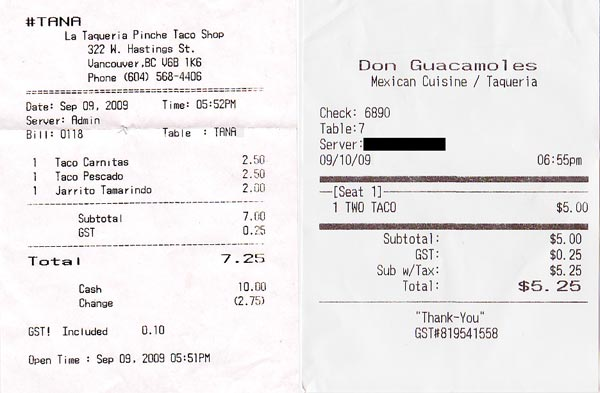 lataqueria&donreceipts