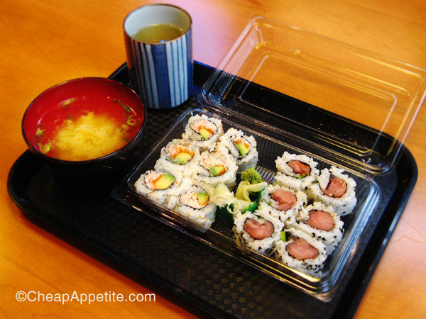 sushi mart combo 2 with free miso soup and hot tea (dine-in only)