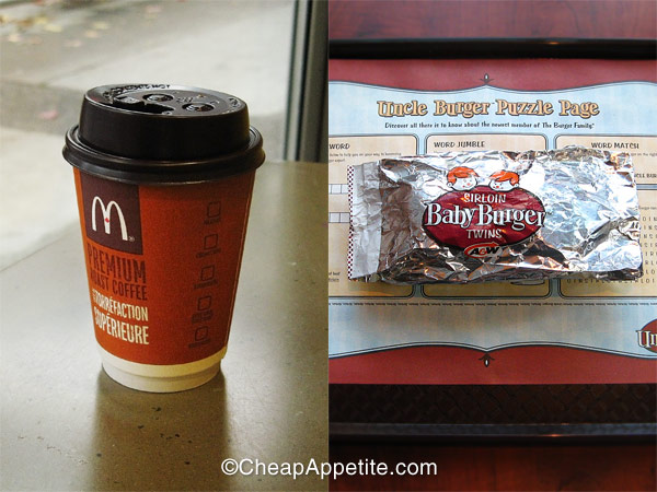 Free McDonald's Premium Roast Coffee and A&W Sirloin Baby burger twins