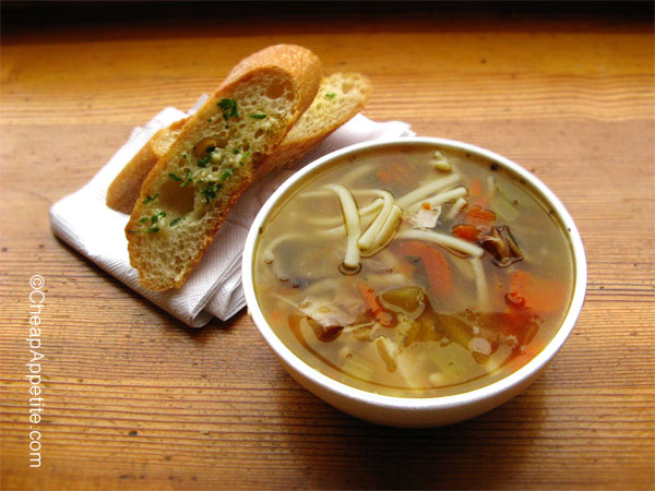 Chicken Noodle Soup and Garlic Bread at Stock Market