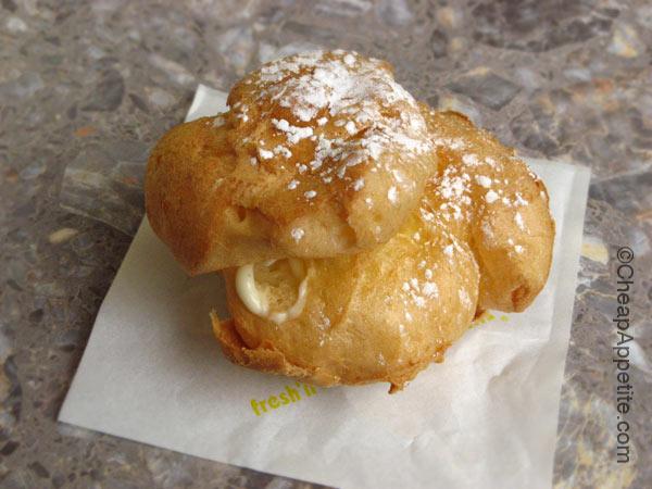 Beard Papa's original cream puff on Robson Street