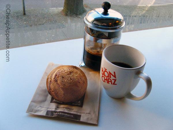 16 oz French press organic coffee and Bon Chaz French Truffle Bun