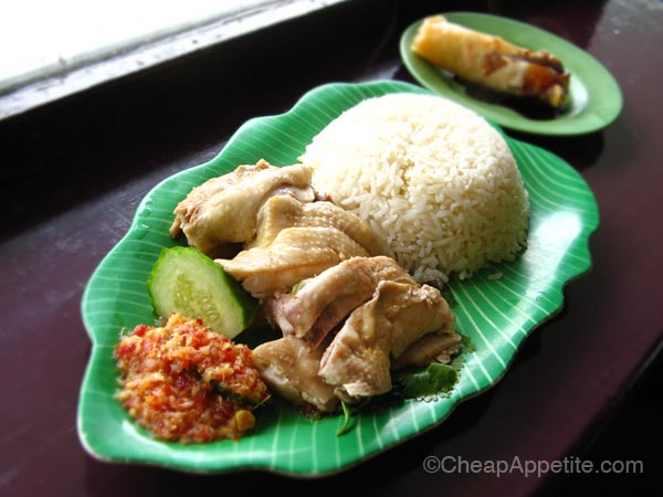 Hainanese Chicken Rice and Vegetable Spring Roll