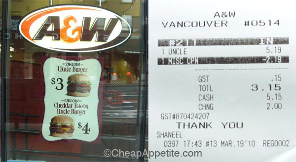A&W Sirloin Uncle Burger Receipt