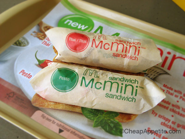 Pesto Grilled Chicken and Spicy Thai Crispy Chicken McMinis in paper wrap