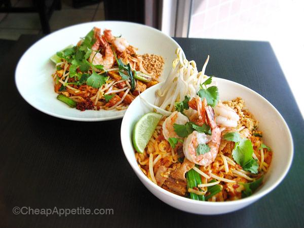 Thai Basil Pad Thai on the menu (left) vs Thai Basil Pad Thai Krung Thep (right)