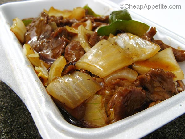Try Tsui Hang Village black pepper beef on rice while watching World Cup Soccer 2010