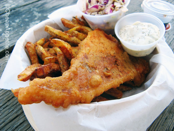 Deep Fried Salmon Filet Fish and Chips at Go Fish Vancouver