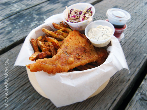 Salmon Filet Fish and Chips at Go Fish Vancouver, near Granville Island