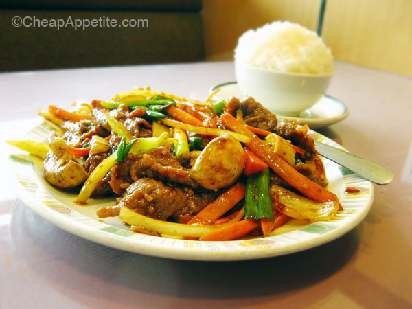 Mogolian Beef with Steamed Rice at Win's Chinese Restaurant in Kitsilano
