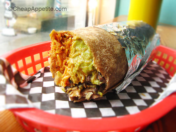 JameDog Veganized with Guacamole sauce from Budgie's Burritos