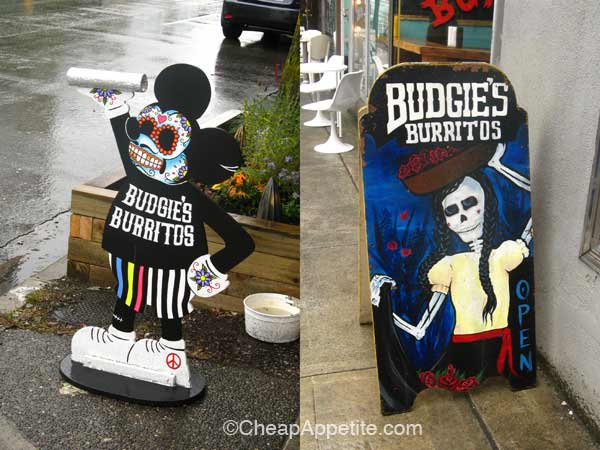 Funky Street Signages of Budgie's Burritos
