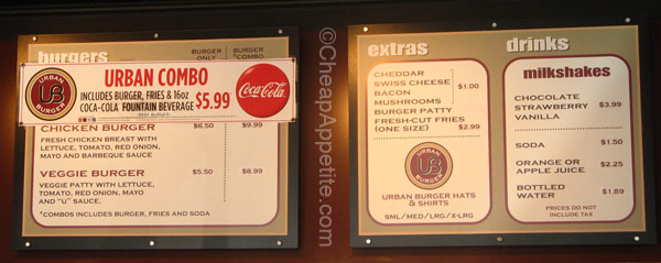 Menu Board at Urban Burger (as of August 14th, 2010)