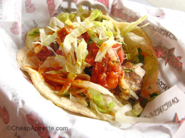 Chronic Taco soft fatty tacos with Tecate beer battered shrimp