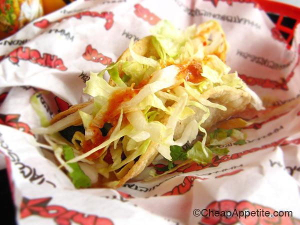 Crispy Fatty Tacos Crane Asada at Chronic Tacos on West Broadway at Yukon St.