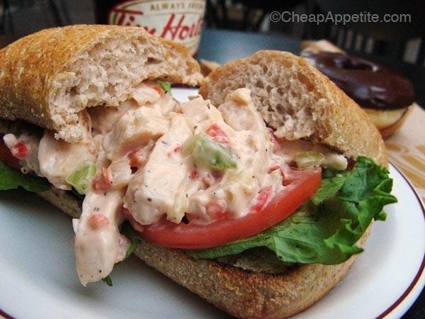 Tim Horton Chicken Salad Sandwich with chocolate glazed donut and coffee