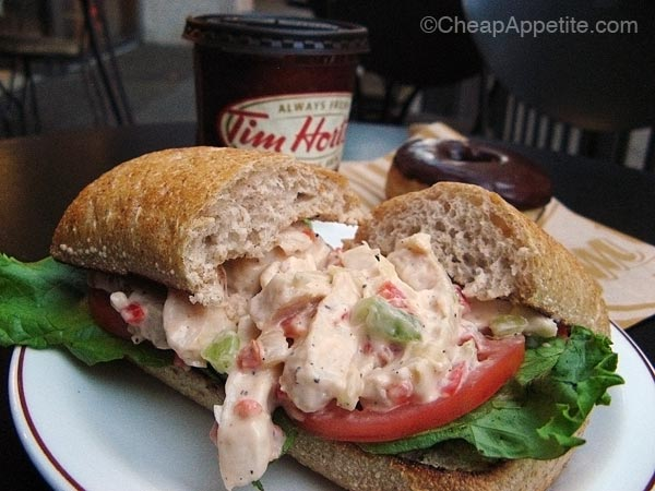 TIm Hortons Chicken Salad Sandwich with Chocolate Glazed Donut and medium Coffee