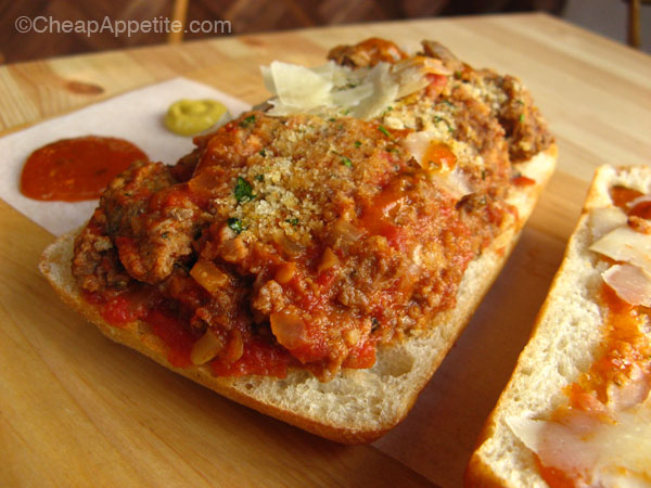 Meat & Bread Meatball sub close up