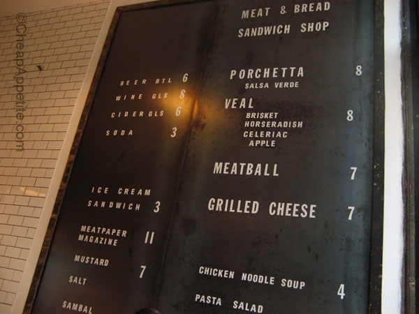 Meat & Bread Menu Board