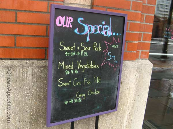 Dash's Street Signage featuring special menu items