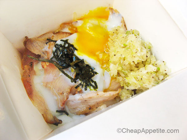 Pork Toro with Onion Sauce and Soft-Boiled Egg at Kushi Box on Robson Street
