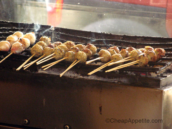 meatballs chargrilled on skewers at Kushi Box