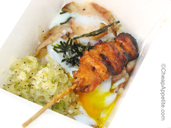 Pork Toro with Onion Sauce and Soft boiled egg with Chicken Yakitori at Kushi Box