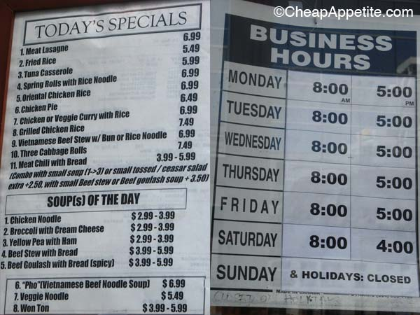 Daily Specials Menu and Business Hour at Cafe Des Arts