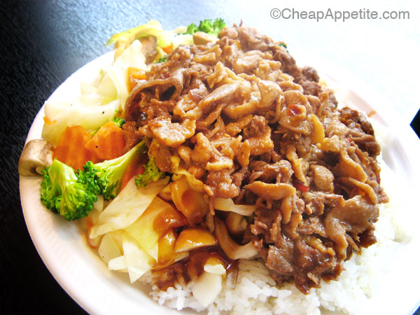 Super Chef Grill Teppanyaki Chicken and Beef on Rice Special, Robson Street