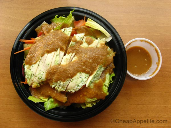 Something Healthy Fresh Salad Rice Bowl with Baked chicken and Sesame Pear Dressing