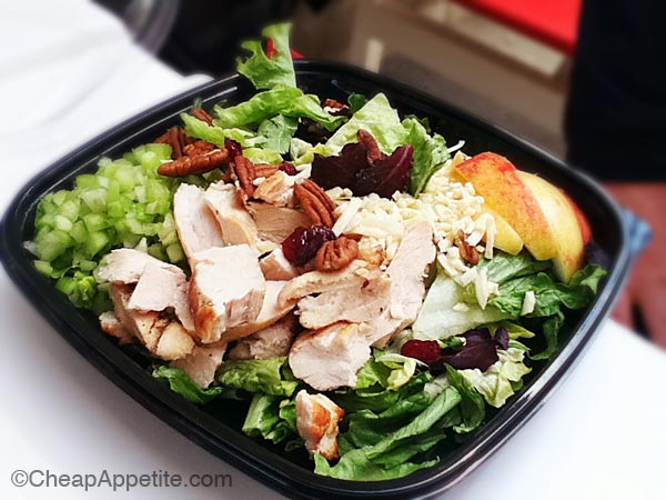 a healthy alternative: chicken salad with sliced apple and pecan