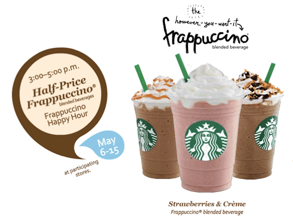 Starbucks Half-Price Frappuccino Promotion
