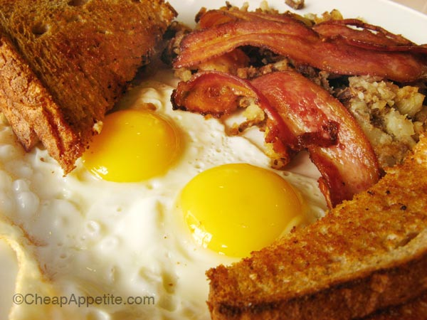 Breakfast Special with two eggs, hash browns, bacons and toasts.