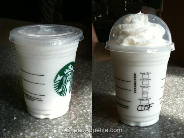 Starbucks Vanilla Bean Frappuccino and Coconut Cream Frappuccino