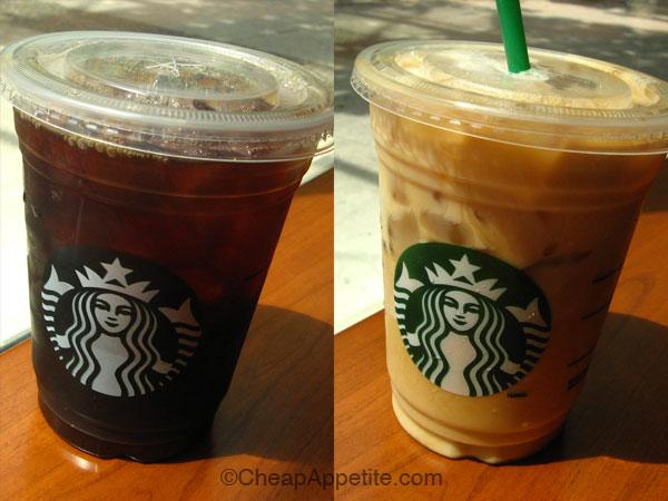 black iced coffee and milk iced coffee at Starbucks