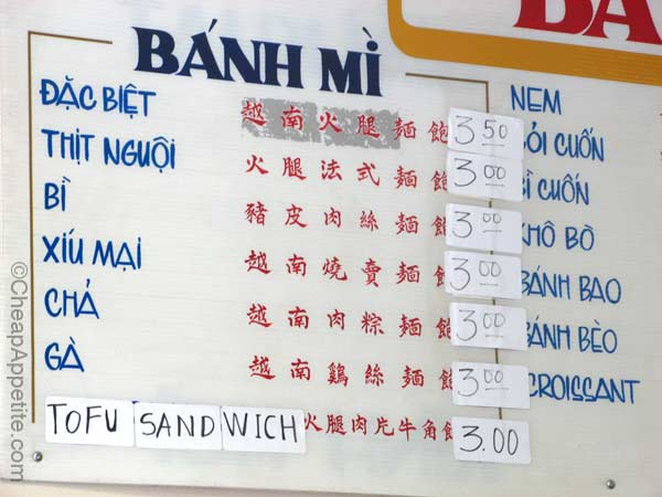 Ba Le Banh Mi Menu Board